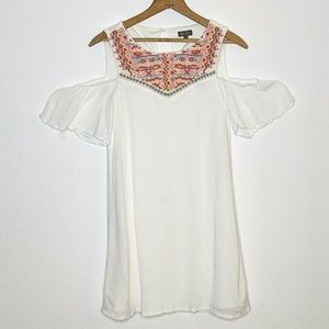 Lily Rose White Cold Shoulder Dress Embroidered